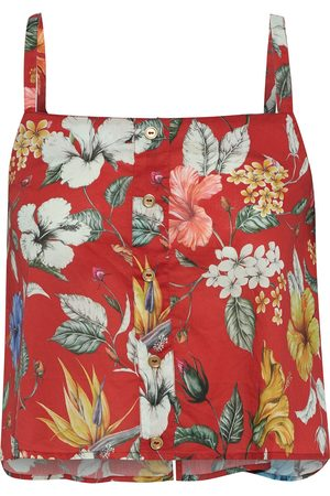 ONIA Woman Bree Cropped Floral-print Cotton-voile Top Size L