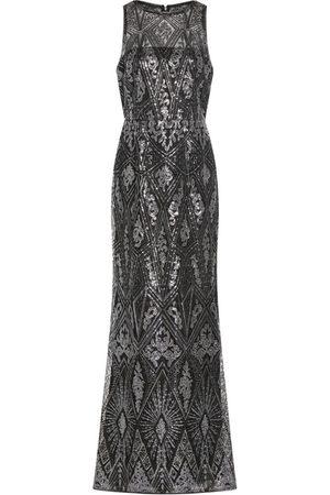 Adrianna Papell Geo Sequin Halter Gown