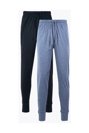 Marks & Spencer Mens 2 Pack Pure Cotton Cuffed Pyjama Bottoms - Navy/ , Navy/ , Mix