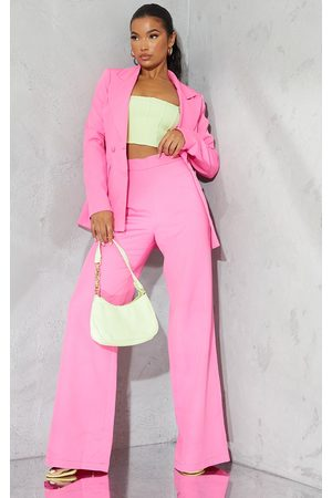 PRETTYLITTLETHING Bright Woven High Waisted Tailored Wide Leg Trousers