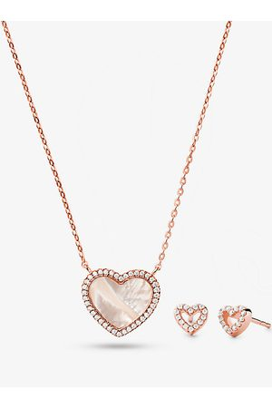 Michael Kors MK Precious Metal-Plated Sterling Silver and Pavé Heart Necklace and Stud Earrings Set - Rose