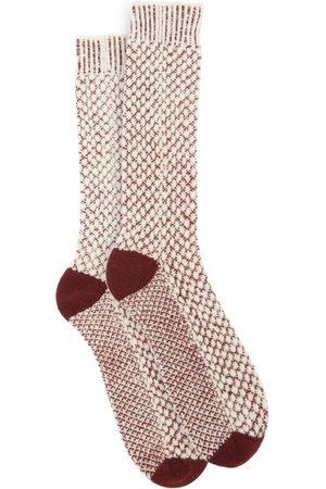 JOHN LOBB Basket-stitched Merino-blend Socks - Mens - Burgundy
