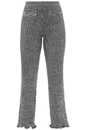 Paco rabanne Ribbed-knit Wool-blend Flared Trousers - Womens - Multi