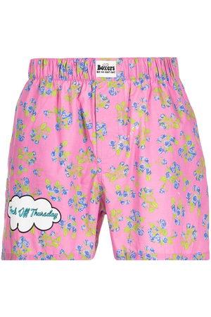 DUOltd Men Boxer Shorts - Floral-print slogan boxer shorts