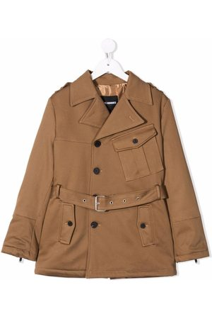 LES HOMMES KIDS Belted trench coat - Neutrals