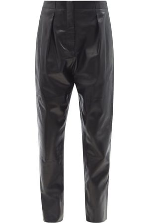 Tom Ford Pleated High-rise Plongé-leather Trousers - Womens