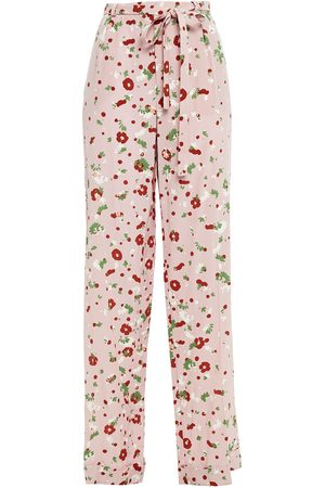 VALENTINO Woman Floral-print Silk Crepe De Chine Wide-leg Pants Baby Size 00