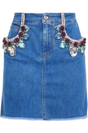Dolce & Gabbana Woman Crystal-embellished Floral-appliquéd Denim Mini Skirt Mid Denim Size 36