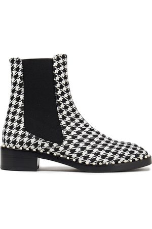 Stuart Weitzman Woman Cline Embellished Houndstooth Jacquard Ankle Boots Size 36