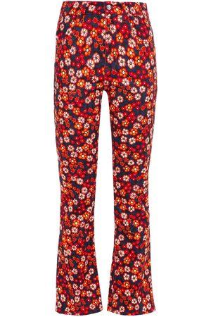 Marni Woman Floral-print Cotton-blend Boot-cut Pants Papaya Size 36