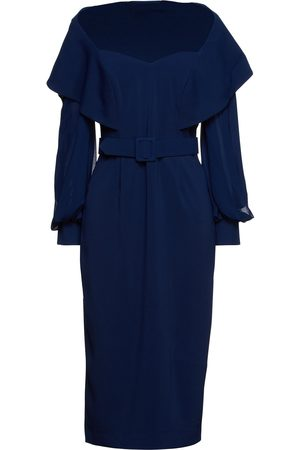 BADGLEY MISCHKA Woman Belted Stretch-crepe And Georgette Midi Dress Navy Size 10