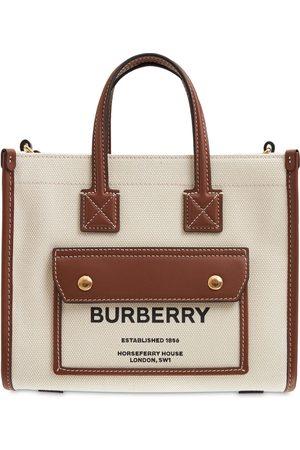 Burberry Mini Logo Leather & Canvas Tote Bag