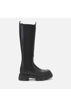 Ganni Women High Leg Boots - Women's Knee High Leather Chelsea Boots