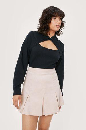 NASTY GAL Womens Pleated Hem Corduroy Mini Skirt