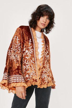 NASTY GAL Womens Velvet Embroidered Ruffle Kimono Jacket