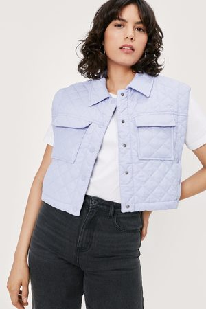 Nasty Gal Womens Quilted Cropped Button Down Gilet