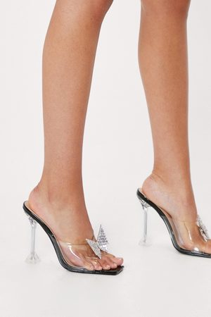 NASTY GAL Womens Diamante Butterfly Clear Heeled Mules