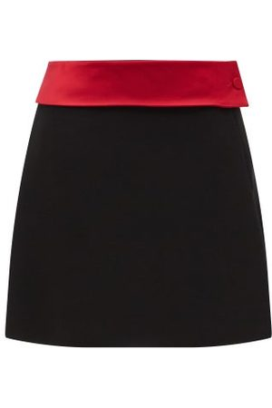 Maximilian A-line Satin-belt Felt Mini Skirt - Womens