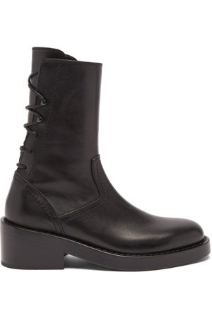ANN DEMEULEMEESTER Back Lace-up Leather Ankle Boots - Womens