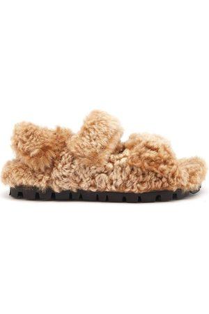 Miu Miu Shearling Slingback Sandals - Womens - Tan