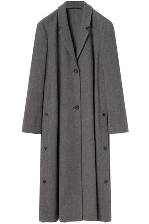 Lemaire Buttoned Side-slits Wool-tweed Coat - Womens