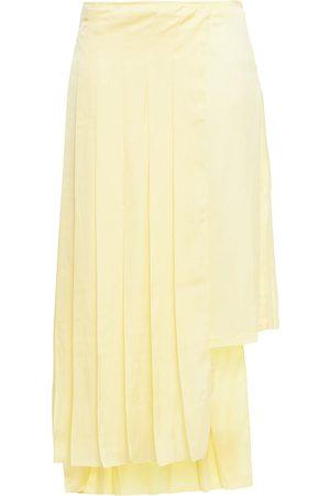 LEO LIN Woman Paneled Pleated Satin Skirt Pastel Size 6