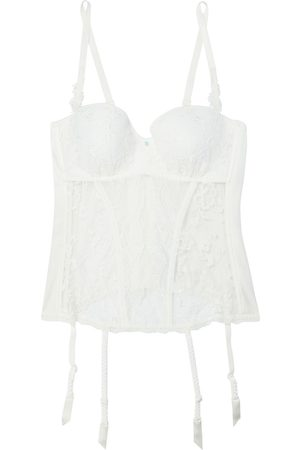 Lise Charmel Women Corsets - Woman Art Et Volupte Embellished Satin-jersey Lace And Embroidered Tulle Corset Ivory Size 85 C