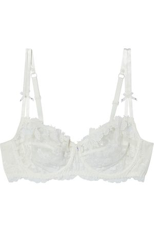 LISE CHARMEL Woman Embroidered Tulle And Lace Underwired Bra Ivory Size 100 B