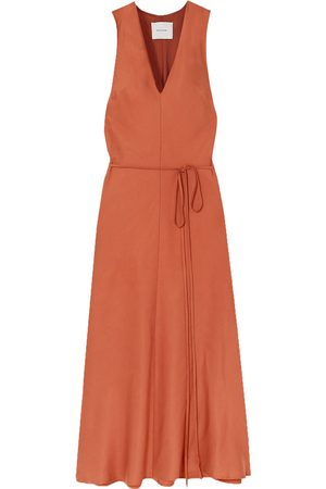 BONDI BORN Woman Lyocell Midi Dress Brick Size L