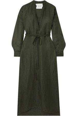 BONDI BORN Woman Cotton And Linen-blend Twill Maxi Dress Forest Size L