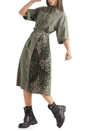 Khaki Dress with Pleated Insert