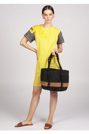 Maraina London MIMOSA black and brown striped beach raffia tote bag