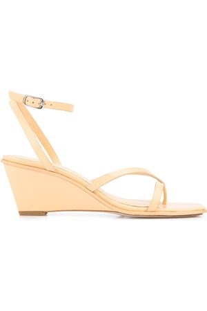 3.1 Phillip Lim Women Wedge Sandals - Strap-detail wedge-heel sandals - Neutrals