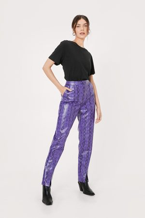 Nasty Gal Womens Faux Leather Snake High Waisted trousers