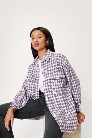 Nasty Gal Womens Long Sleeve Houndstooth Print Shirt Jacket