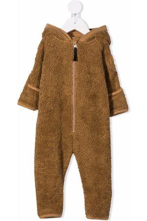 Molo Kids Faux-shearling hooded babygrow - Neutrals