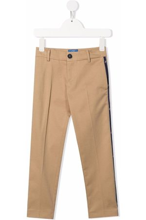 Fay Kids Logo-tape stretch-cotton trousers - Neutrals