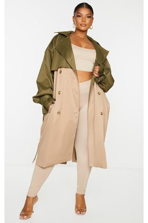 PRETTYLITTLETHING Women Trench Coats - Plus Khaki Contrast Oversized Belted Midi Trench