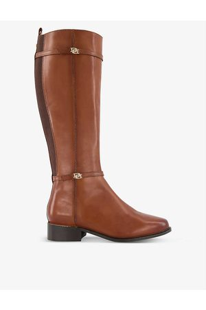 Dune Tap double-buckle knee-high leather riding boots