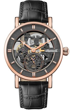 Ingersoll 1892 The Herald And Rose Gold Skeleton Dial Leather Strap Automatic Mens Watch