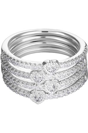 The Love Silver Collection Sterling & Cubic Zirconia Set Of 4 Heart Stacking Rings