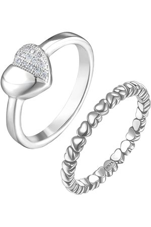 The Love Silver Collection Sterling Set Of 2 Heart Design Rings