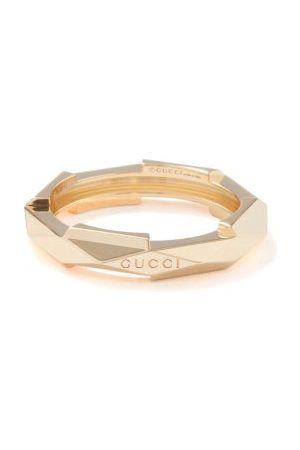 Gucci Link To Love Studded 18kt Ring - Womens