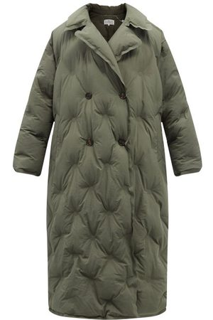 Maison Margiela Double-breasted Quilted Shell Coat - Womens - Khaki