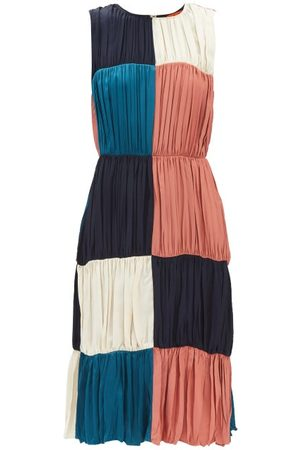 Colville Patchwork Ruched-crepe Midi Dress - Womens - Multi
