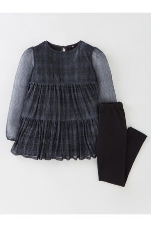 V by Very Girls 2 Piece Woven Check Tunic And Leggings - /