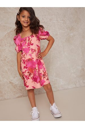 chi chi london Girls Floral Print Puff Sleeve Button Up Dress