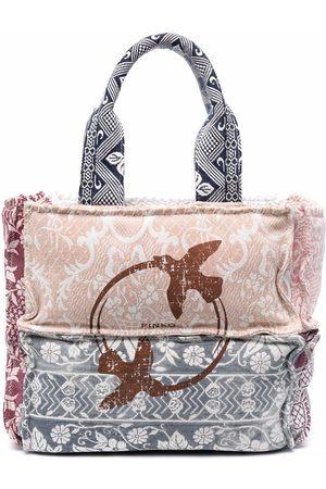Pinko Women Handbags - Panelled logo tote bag - Neutrals