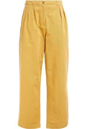 ACNE STUDIOS Women Wide Leg Trousers - Woman Cotton-twill Wide-leg Pants Mustard Size 32