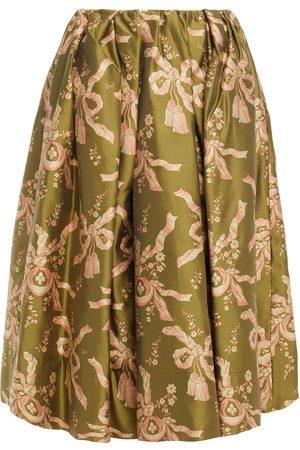 SIMONE ROCHA Woman Pleated Jacquard Skirt Leaf Size 10